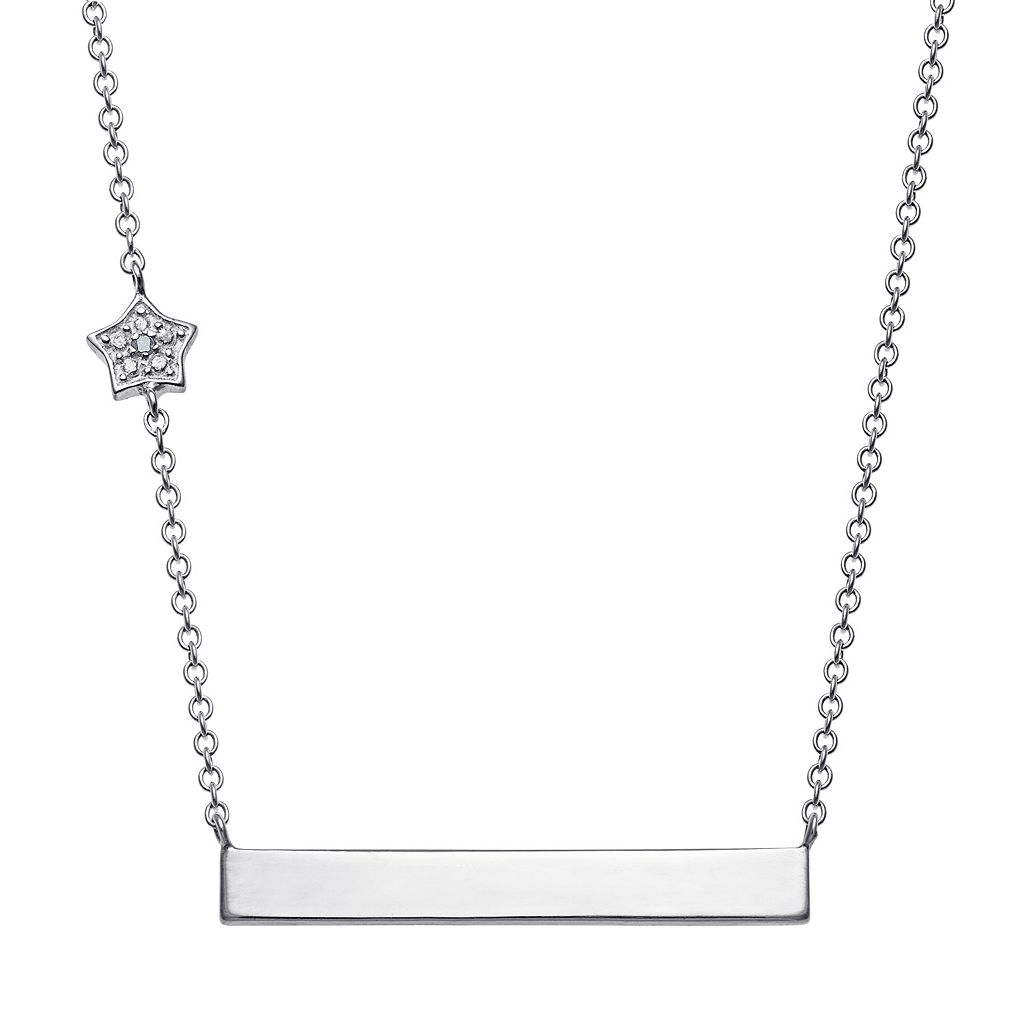 Sterling Silver Diamond Accent Star Charm Bar Necklace