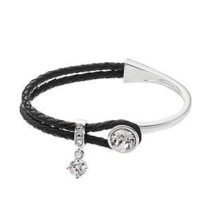 Brilliance Silver Tone & Black Leather Bracelet with Swarovski Crystals