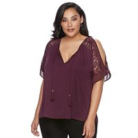 Plus Size Jennifer Lopez Cold-Shoulder Top