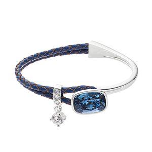 Brilliance Silver Tone & Blue Leather Bracelet with Swarovski Crystals