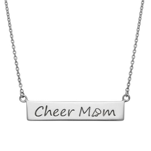 """Sterling Silver """"Cheer Mom"""" Bar Necklace"""