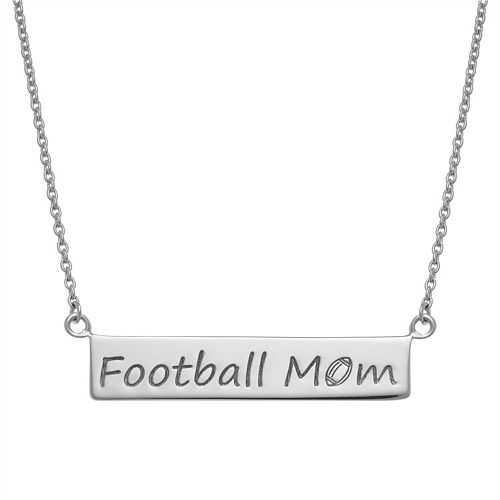 """Sterling Silver """"Football Mom"""" Bar Necklace"""