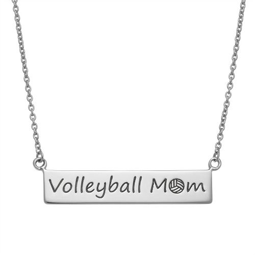 """Sterling Silver """"Volleyball Mom"""" Bar Necklace"""