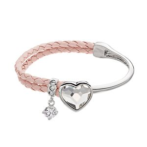 Brilliance Silver Tone & Pink Leather Heart Bracelet with Swarovski Crystals
