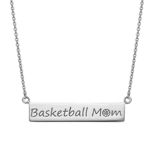 "Sterling Silver ""Basketball Mom"" Bar Necklace"