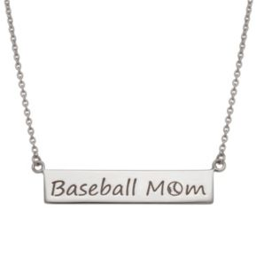 "Sterling Silver ""Baseball Mom"" Bar Necklace"