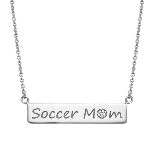 "Sterling Silver ""Soccer Mom"" Bar Necklace"