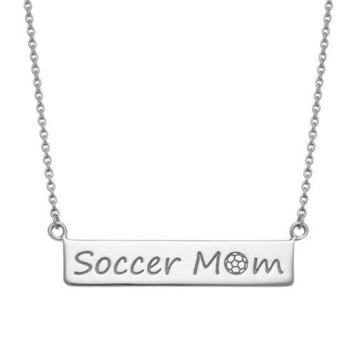 "Sterling Silver ""Soccer Mom"" Bar Necklace"