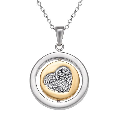 Two Tone 10k Gold Over Silver Cubic Zirconia Heart Pendant Necklace
