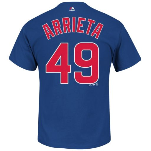 Big & Tall Majestic Chicago Cubs Jake Arrieta Player Name and Number Tee