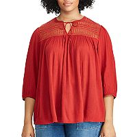 Plus Size Chaps Lace Yoke Cotton-Blend Top