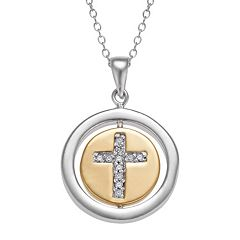 Two Tone 10k Gold Over Silver Cubic Zirconia Cross Pendant Necklace