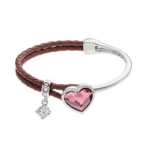 Brilliance Silver Tone & Leather Heart Bracelet with Swarovski Crystals