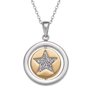Two Tone 10k Gold Over Silver Cubic Zirconia Star Pendant Necklace
