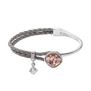 Brilliance Silver Tone & Gray Leather Bracelet with Swarovski Crystals