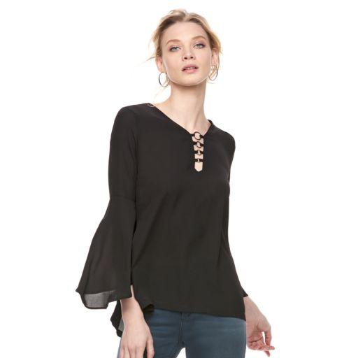 Women's Rock & Republic® Bell Sleeve Flounce Top
