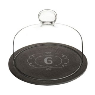 Cathy's Concepts Monogram Slate Tray with Glass Dome