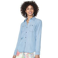 Petite Chaps Button-Down Jean Shirt