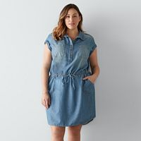 Plus Size SONOMA Goods for Life™ Chambray Shirtdress