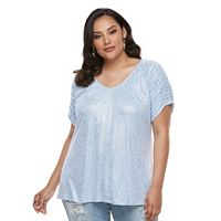 Plus Size Jennifer Lopez Ruched V-Neck Tee
