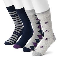 Men's Croft & Barrow® 3-pack Octopus, Argyle, Striped & Solid Crew Socks