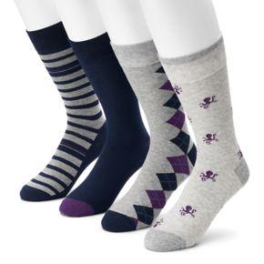 Men's Croft & Barrow® 4-pack Octopus, Argyle, Striped & Solid Crew Socks