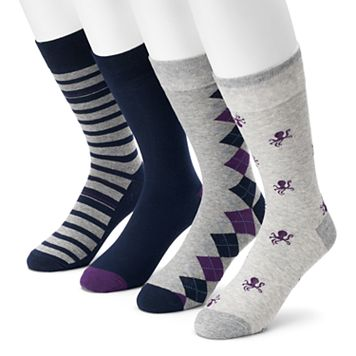 Men's Croft & Barrow® 4-pack Octopus, Argyle, Striped & Solid Crew Socks