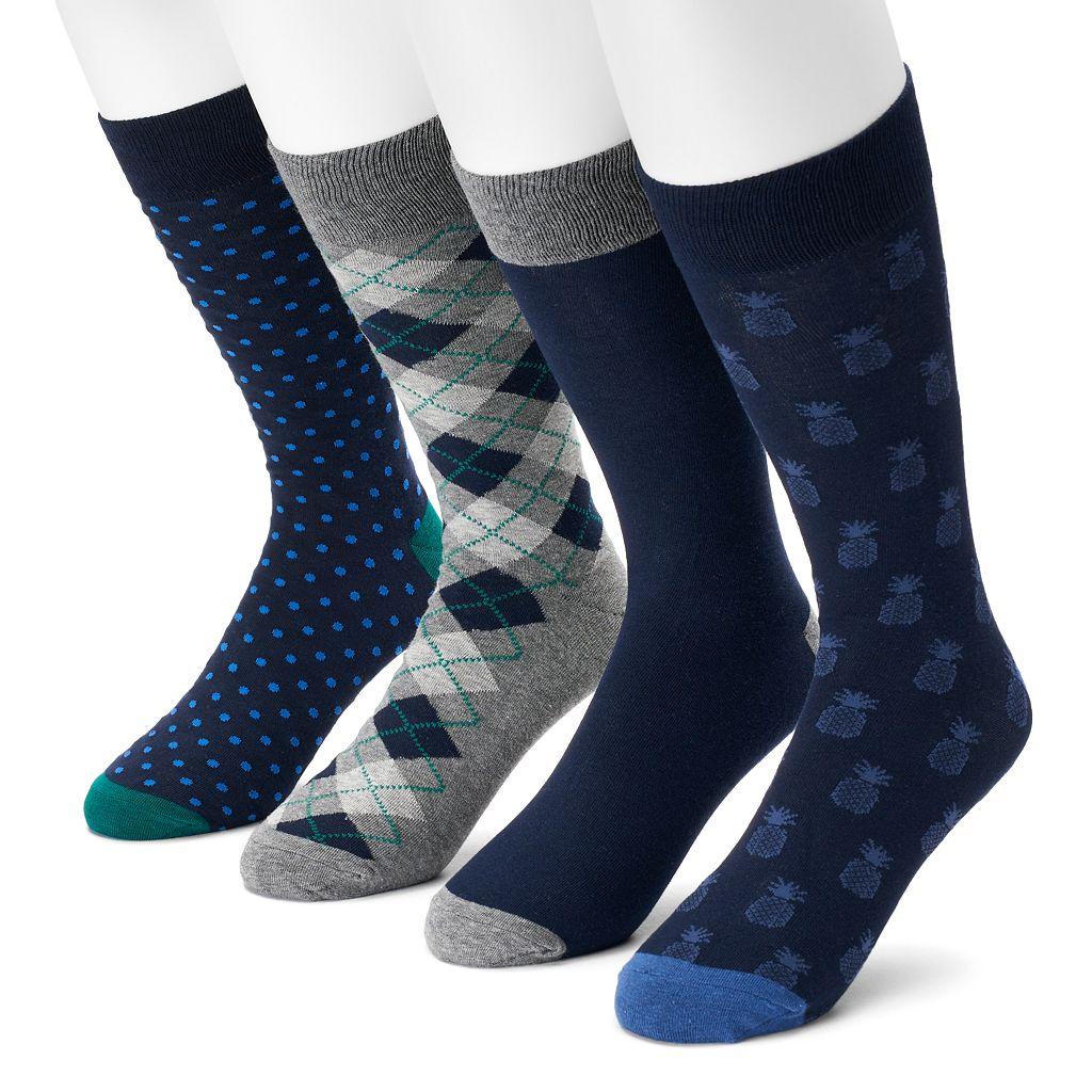 Men's Croft & Barrow® 3-pack Pineapple, Dot, Argyle & Solid Crew Socks