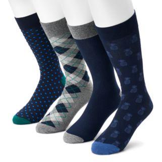 Men's Croft & Barrow® 4-pack Pineapple, Dot, Argyle & Solid Crew Socks