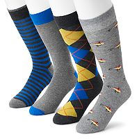 Men's Croft & Barrow® 4-pack Fishing Lure, Argyle, Striped & Solid Crew Socks