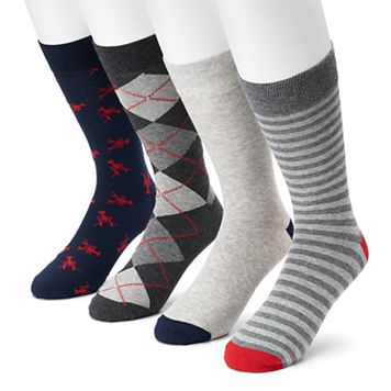 Men's Croft & Barrow® 4-pack Lobster, Argyle, Striped & Solid Crew Socks