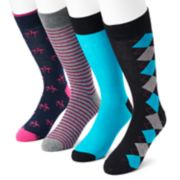 Men's Croft & Barrow® 4-pack Flamingo, Argyle, Striped & Solid Crew Socks