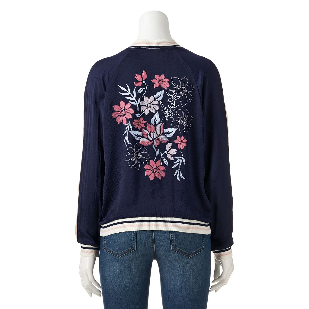 Juniors' About A Girl Floral Back Bomber Jacket