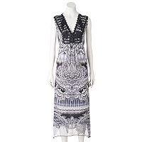 Women's World Unity Embellished Crochet Maxi Dress