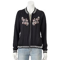 Juniors' About A Girl Floral Bomber Jacket