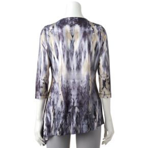 Women's World Unity Print Embellished Asymmetrical Top