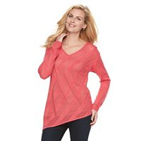 Women's Dana Buchman Pointelle Asymmetrical Sweater