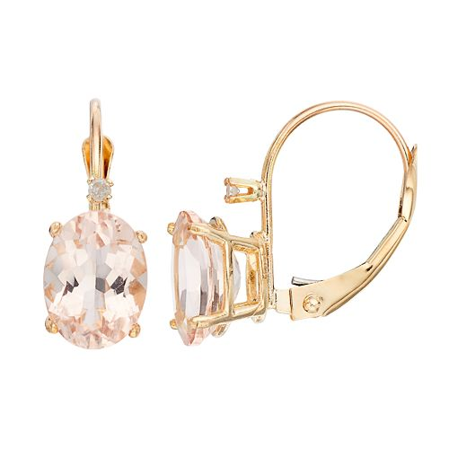 14k Gold Morganite & Diamond Accent Oval Drop Earrings