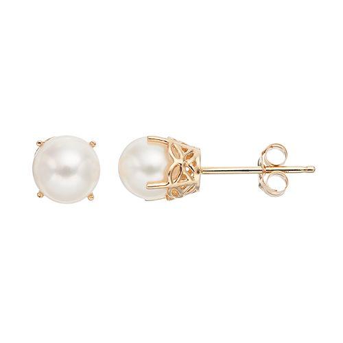 14k Gold Freshwater Cultured Pearl Stud Earrings