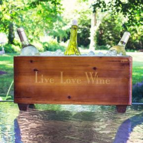 """Cathy's Concepts """"Live Love Wine"""" Wooden Wine Trough"""