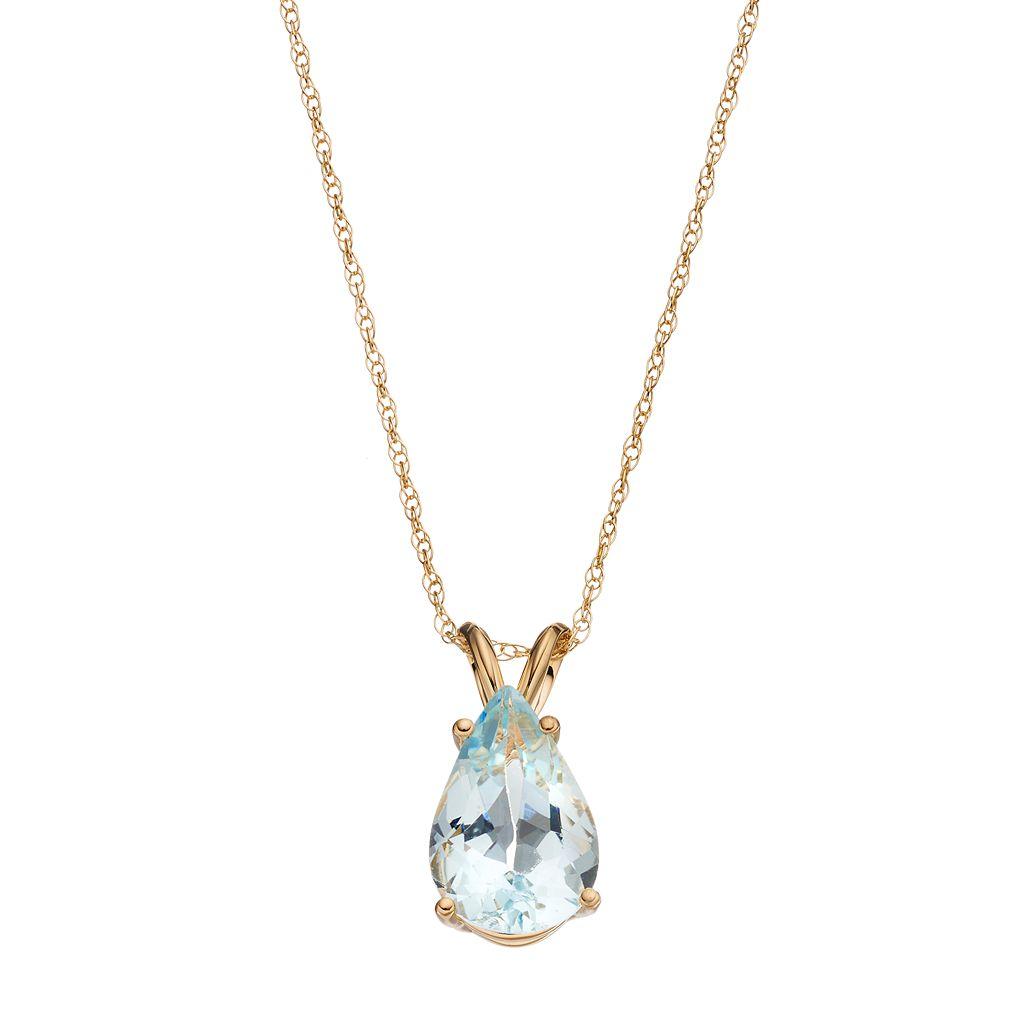 14k Gold Aquamarine Teardrop Pendant