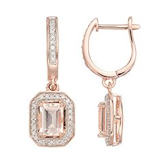 14k Rose Gold Over Silver Morganite & 1/3 Carat T.W. Diamond Halo Drop Earrings