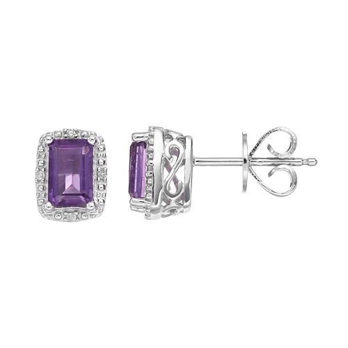 Sterling Silver Amethyst & Diamond Accent Halo Stud Earrings