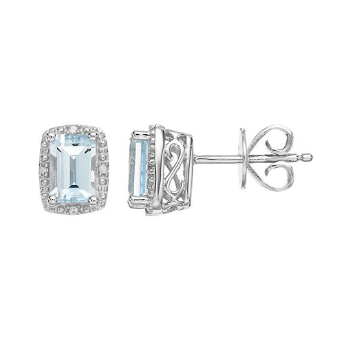 Sterling Silver Aquamarine & Diamond Accent Halo Stud Earrings