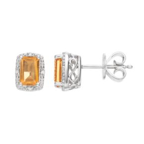 Sterling Silver Citrine & Diamond Accent Halo Stud Earrings