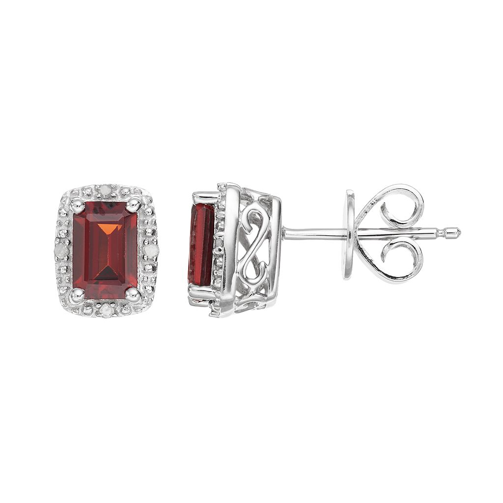 Sterling Silver Garnet & Diamond Accent Halo Stud Earrings