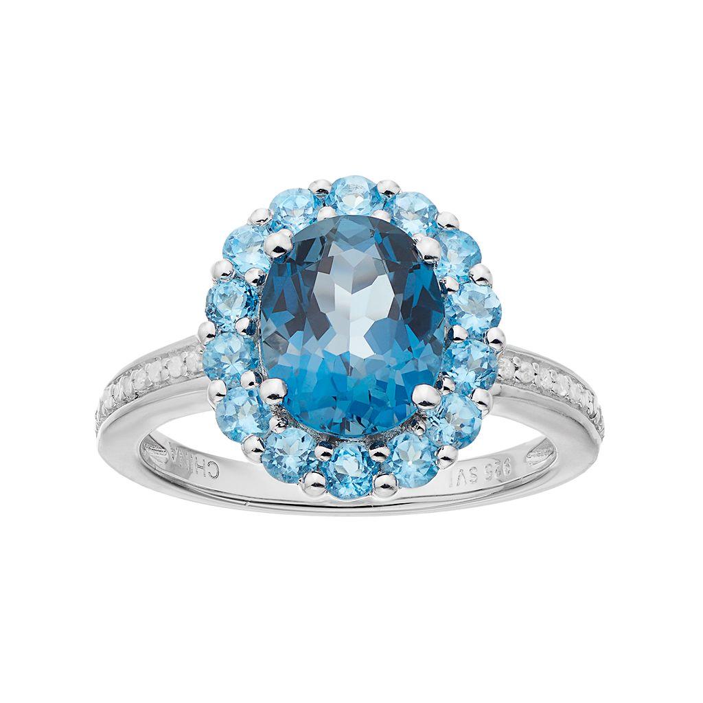 Sterling Silver London Blue Topaz, Blue Topaz & 1/10 Carat T.W. Diamond Oval Halo Ring