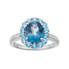 Sterling Silver London Blue Topaz, Blue Topaz & 1/10 Carat T.W. Diamond Oval Halo Ring