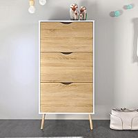 Diana Two-Tone 3-Drawer Shoe Cabinet