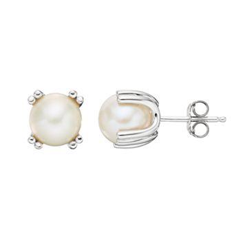 Sterling Silver Freshwater Cultured Pearl Stud Earrings